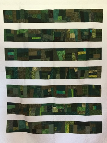 "60 x 70"" $600 Improv piecing with freehand custom long-arm quilting"