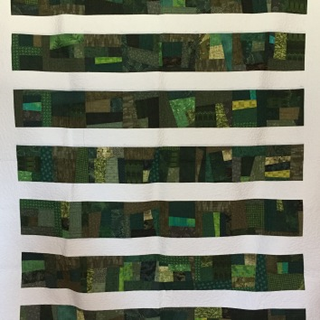 """60 x 70"""" $600 Improv piecing with freehand custom long-arm quilting"""