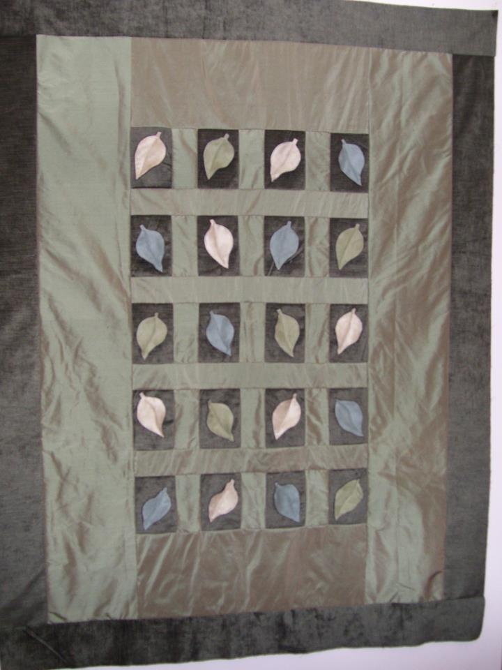 dupioni silk contemporary quilt (leaves)